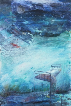 """The Cold Return,"" a painting by Cristina Marian in response to Marc Beaudin's poem, ""Hotel Window: Belgrade, Montana.""https://wheatgrassaloon.files.wordpress.com/2019/09/22hotel-window-belgrad-montana22-marc-beaudin-1.pdf"